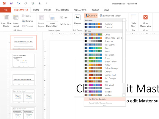 Customize your deck's color palette in the Slide Master view