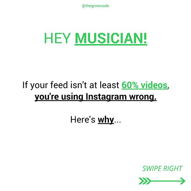 👇🏽👇🏽👇🏽 Post a video of you playing your music or a cover, comment below, and I'll give you feedback on it! 👇🏽👇🏽👇🏽 I've been researching what the top Instagram musicians have in common and by far the biggest thing I've seen is VIDEOS. They all post SO MANY VIDEOS. . . And it makes sense— when you go to an artist's profile, you want to see what work they've done. You don't really care about their day to day because you don't know them, you don't even know if you're a fan yet. . . These Instagram musicians are constantly posting videos of them playing covers and doing their own music. And this gives potential followers the chance to see if they like them or not. . . It's a HUGE obstacle to ask somebody new to just download your music. Why would they? You might suck, or not be their cup of tea. Quick 1-minute videos of you playing music in your own bedroom is a much easier commitment to make on the part of your audience. . . . . . .  #localmusic #atxmusic #lamusicscene #localmusicians #lamusic #nashvillemusic #portlandmusic #pdxmusic #seattlemusic #newyorkmusic #atlantamusic #houstonmusic #dallasmusic #denvermusic #musicproducers #supportmusic #musicbusiness #musicbiz #musictomyears #musicgram #musictherapy #musiclovers #indiemusician #womeninmusic #womenwhorock #womensupportwomen #girlssupportgirls #musicianship #musicindustry #musicianlife