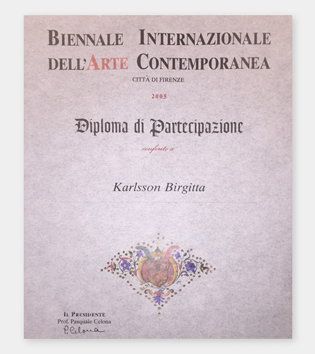 Diploma of participation from the international biennial