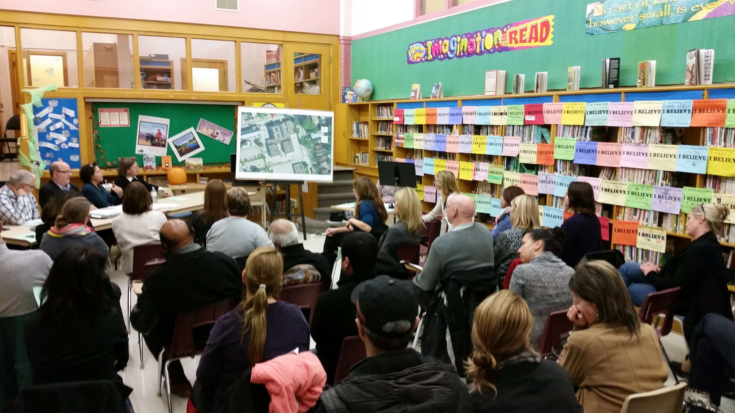 Concerned parents meet withTCDSB Facilities -Morris Iafrate, Angelo Sangiorgio, Maia Puccetti and Trustee Ann Andrachuk about future of St. Leo.