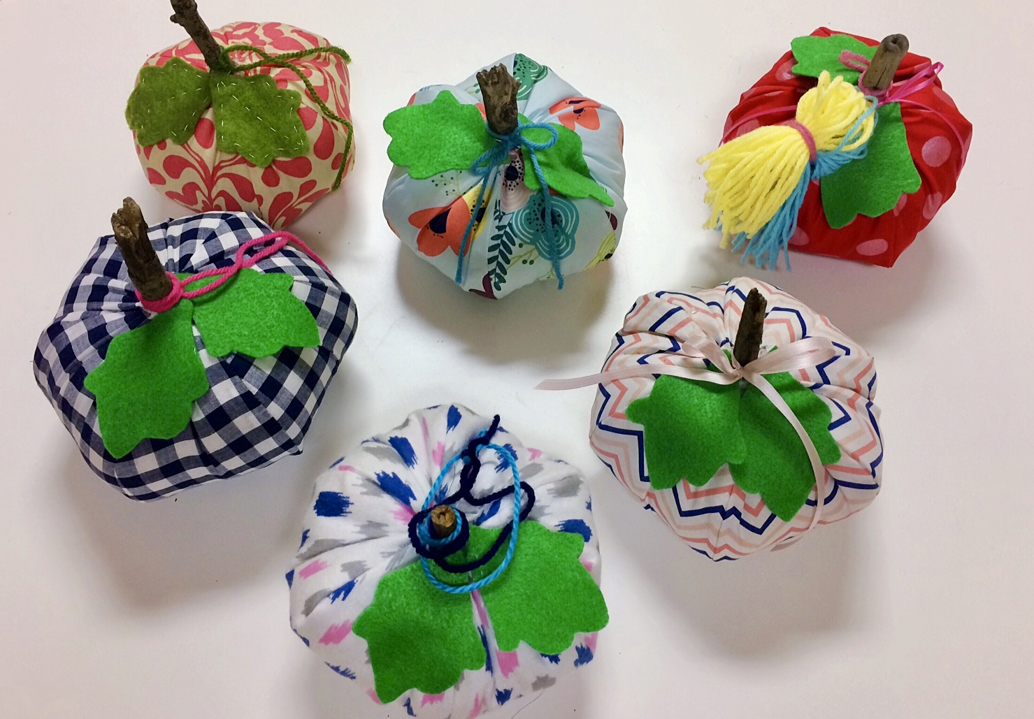 These pumpkins were made by the Fashionable Friday Class!