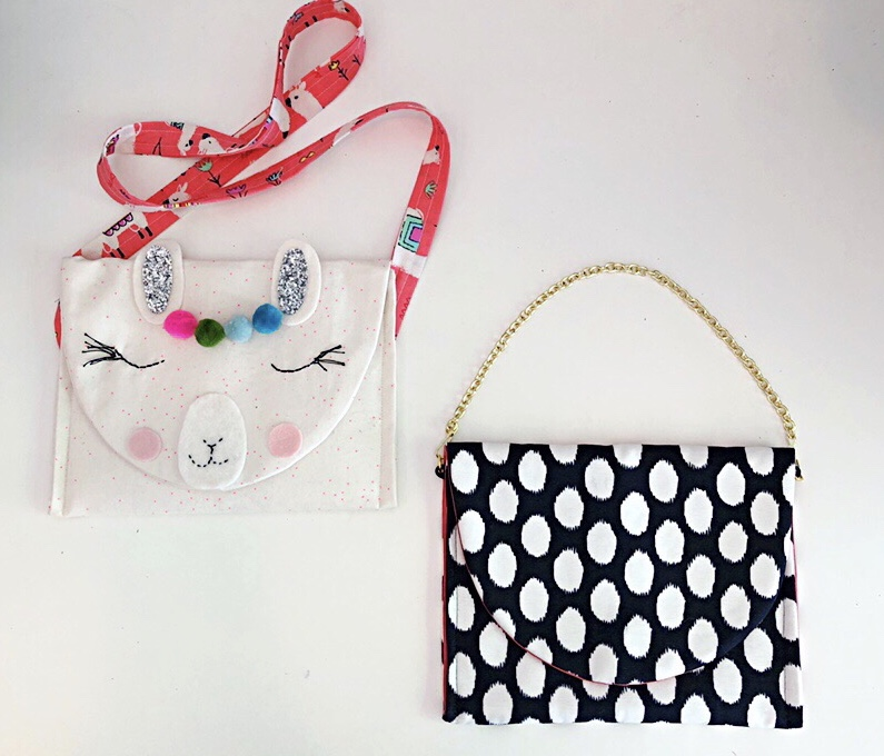 See how a strap can change the entire look and function of a bag? This bag is the  Morganne bag in my book . Made in quilting cotton with a contrast cross-body strap, it is the perfect bag for a child. In silk with a gold chain, you are ready to go out on the town.