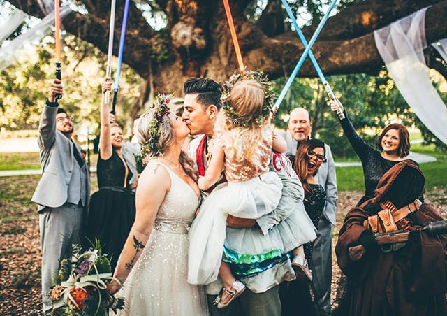 We are so excited to share that our Epic Star Wars Wedding was published in @greenweddingshoes! Thank you @nickandlaurenphotos for capturing all the beautiful details.  #starwarswedding #orlandoweddings #destinationweddingplanner #lightsaberbattle #joingforces2018 #melbourneflorida #epicengagement #epicwedding