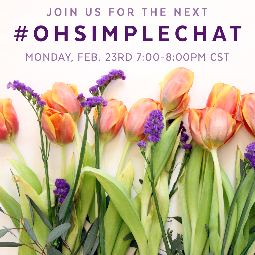 I have a heart so see the Internet used as a tool to bring glory to the Lord, and want to encourage others who have an online presence to consider the same thing. Will you join me tonight for my second #ohsimplechat on Twitter to talk about these things? I will be hanging out asking some questions for whoever wants to join in from 7-8pm CST tonight.