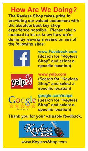 Please take a moment to let us know how we're doing by leaving us a review on Google, Yelp or Facebook.Thank you for your valuable feedback.