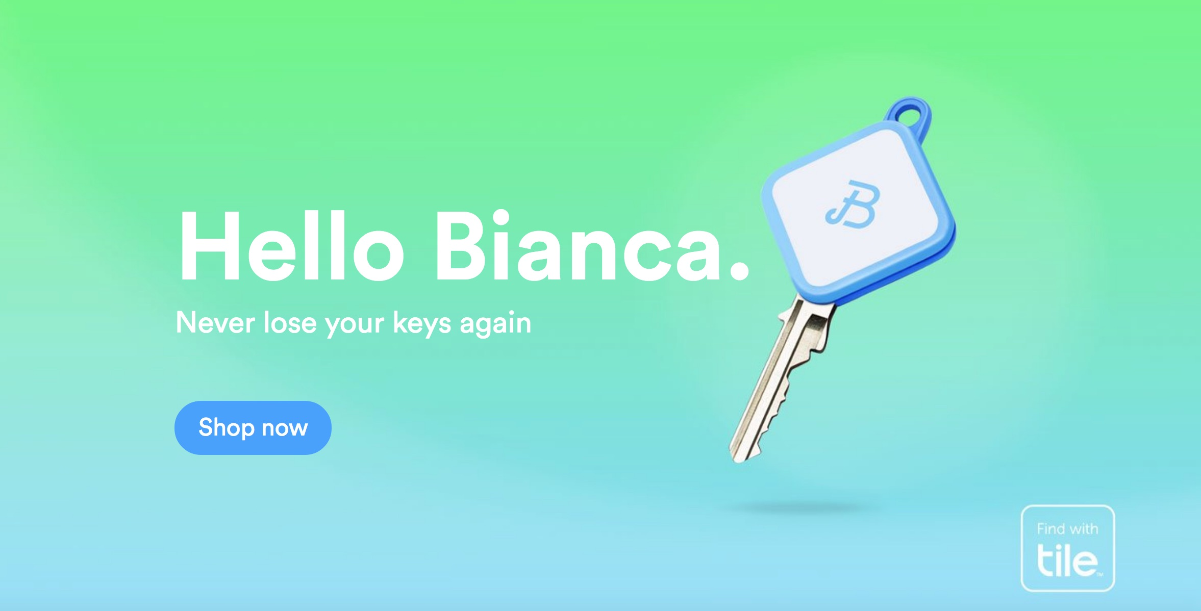 Never lose your keys again with Bianca Keys. Call to order at 800-985-9531