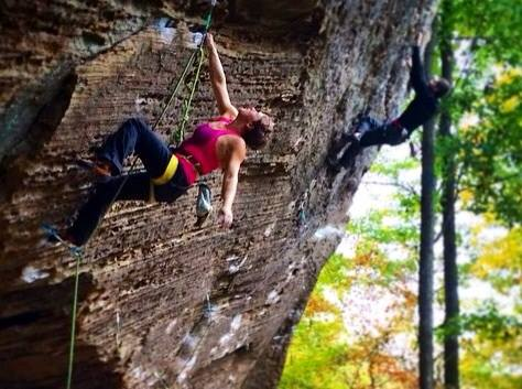 Charmagne climbing at the red river gorge