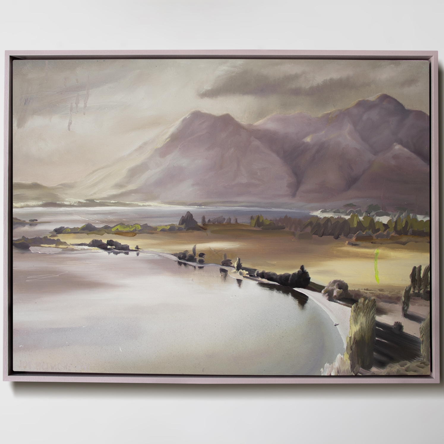 Oil and aerosol spray on board. 64cm by 49cm (frames size) No title yet. This is Glendhu Bay in Lake Wanaka.    Sold
