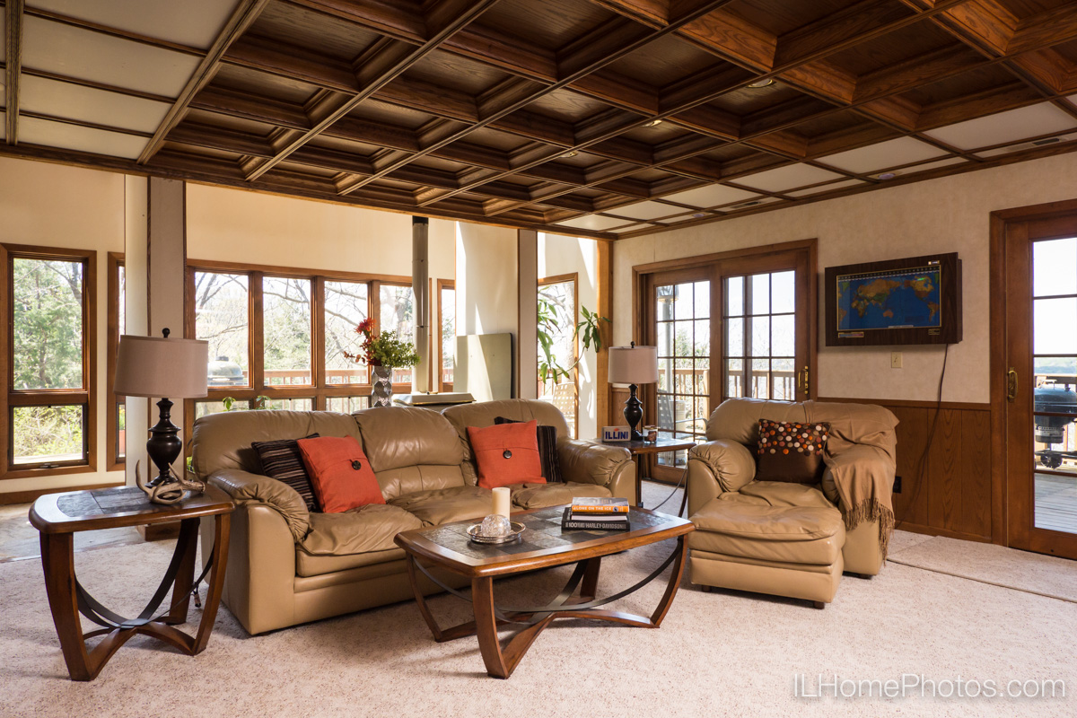 Interior home photograph (den and family room)  for real estate  in East Peoria, IL :: Illinois Home Photography by Michael Gowin, Lincoln, IL