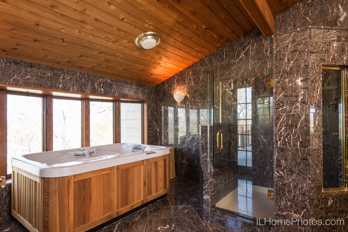 Interior home photograph (marble shower and hot tube in bathroom)  for real estate  in East Peoria, IL :: Illinois Home Photography by Michael Gowin, Lincoln, IL