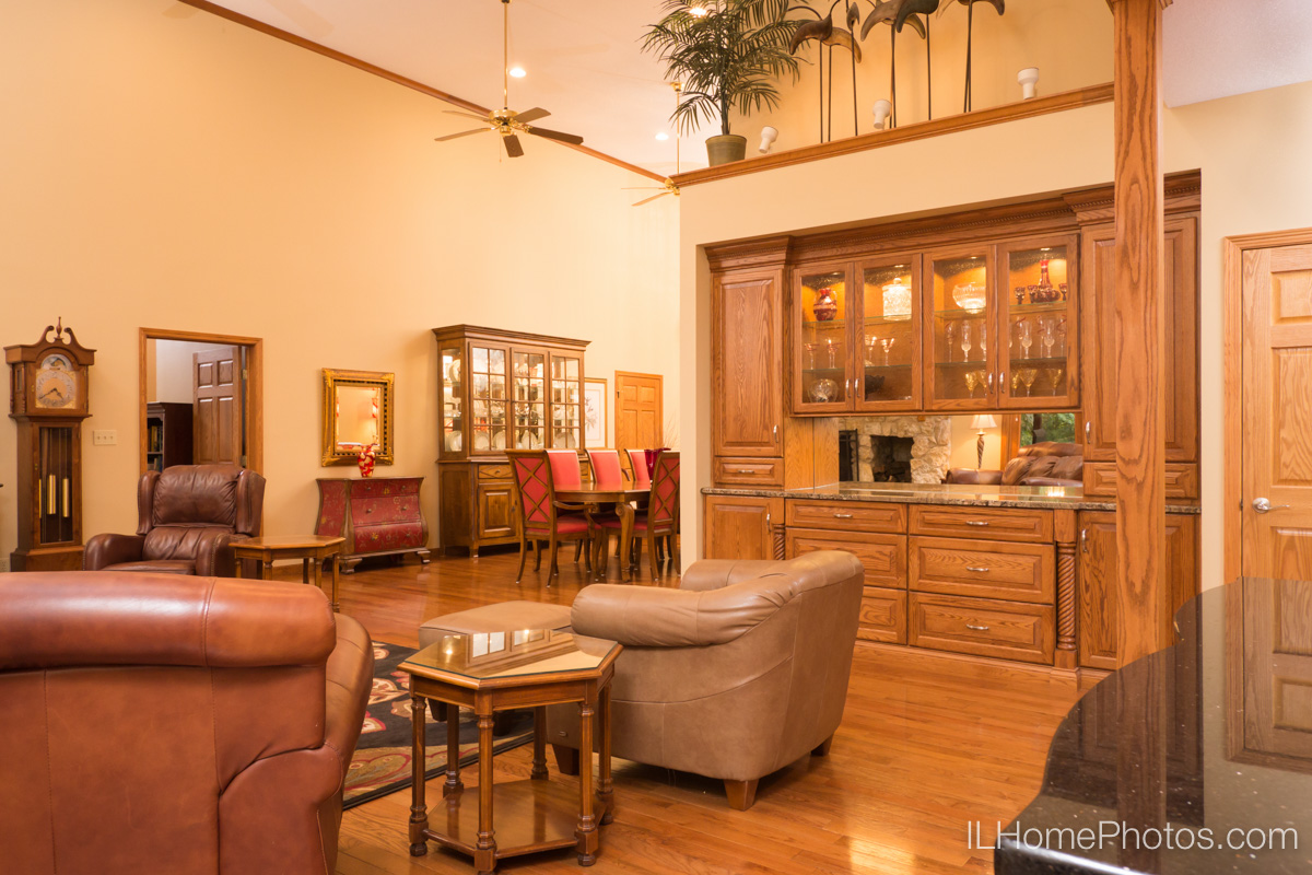 Interior living room and dining room photograph for real estate in Elkhart, IL :: Illinois Home Photography by Michael Gowin, Lincoln, IL