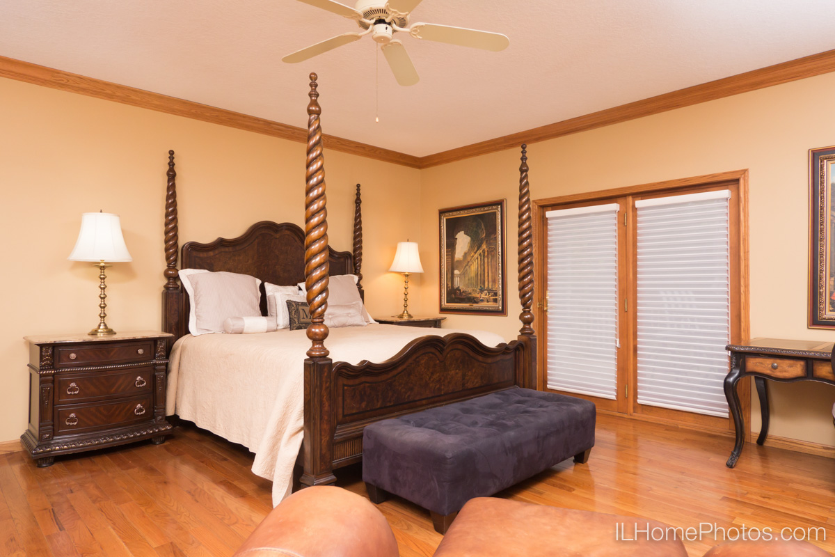 Interior master bedroom photograph for real estate in Elkhart, IL :: Illinois Home Photography by Michael Gowin, Lincoln, IL
