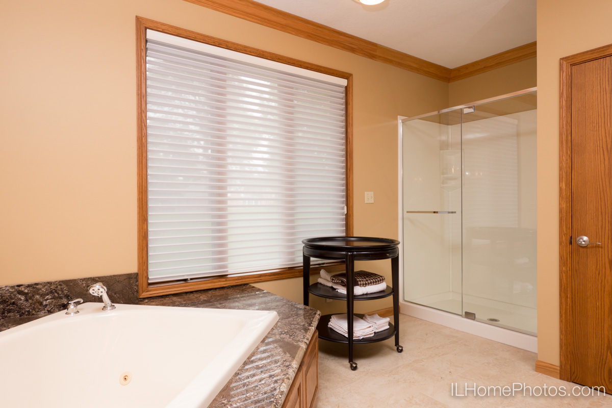 Interior master bathroom photograph for real estate in Elkhart, IL :: Illinois Home Photography by Michael Gowin, Lincoln, IL