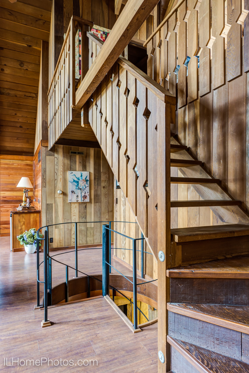 Interior living room stairway photograph for real estate, Cuba, IL :: Illinois Home Photography by Michael Gowin, Lincoln, IL