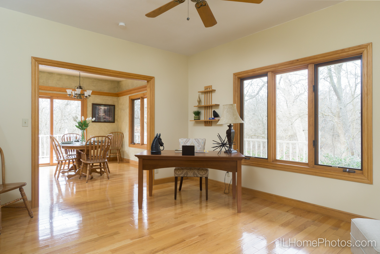 Interior home office and dining room photograph for real estate :: Illinois Home Photography by Michael Gowin, Lincoln, IL