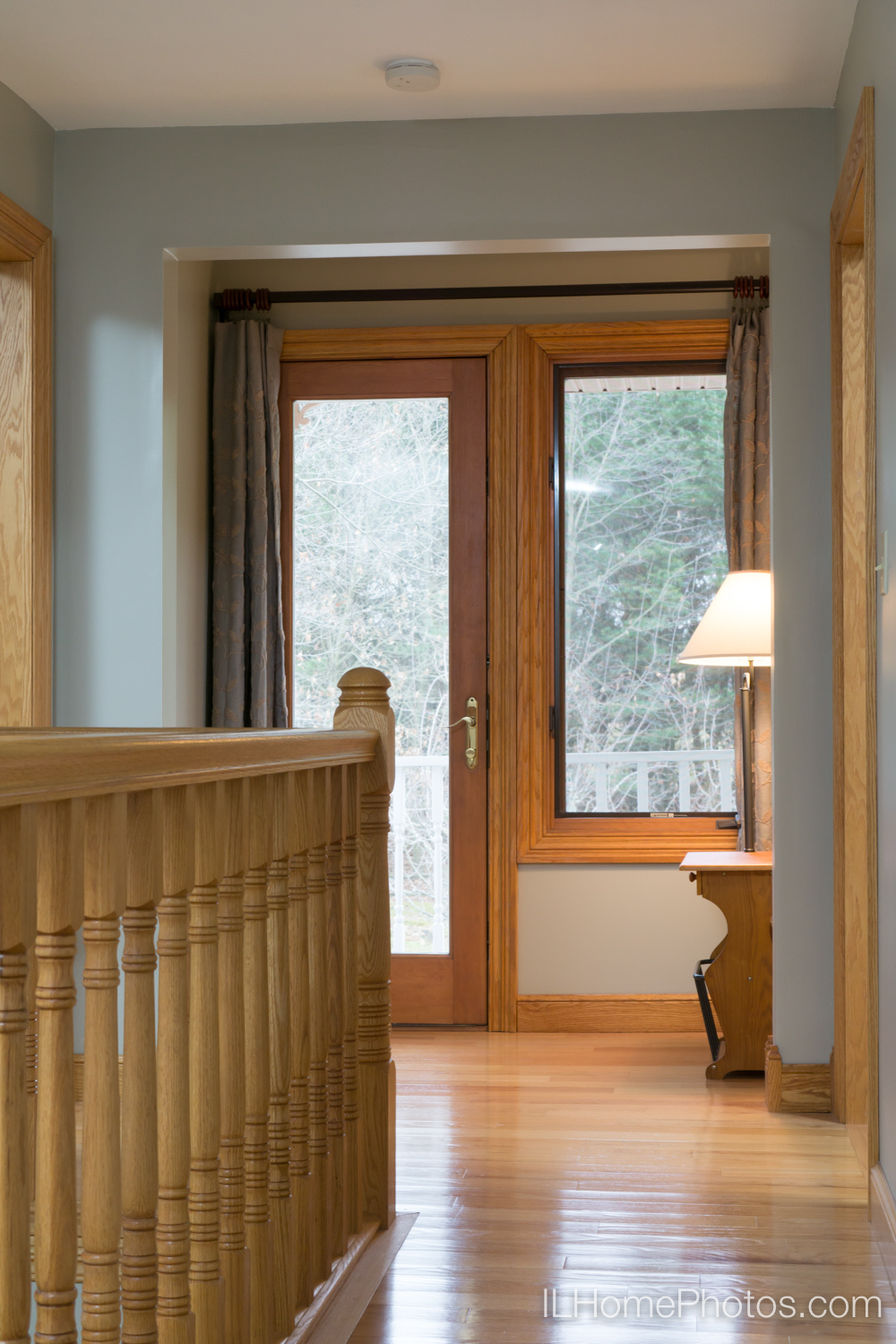 Interior hallway and stair rail detail photograph for real estate :: Illinois Home Photography by Michael Gowin, Lincoln, IL