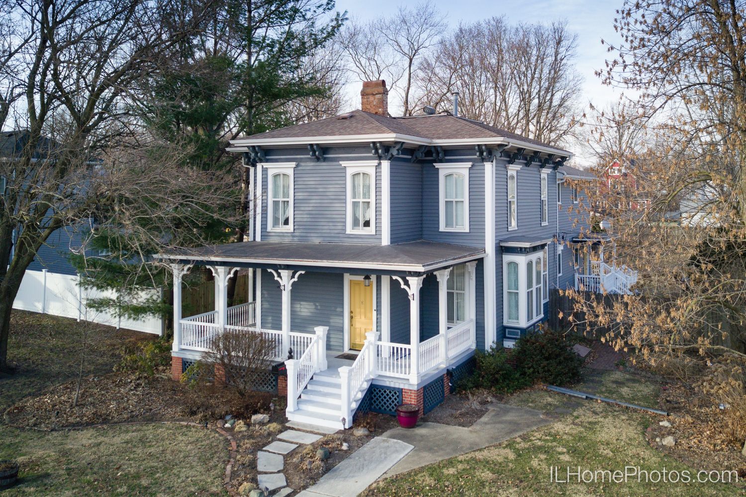 Home exterior photographed with a drone :: Illinois Home Photography, Lincoln, IL // Michael Gowin