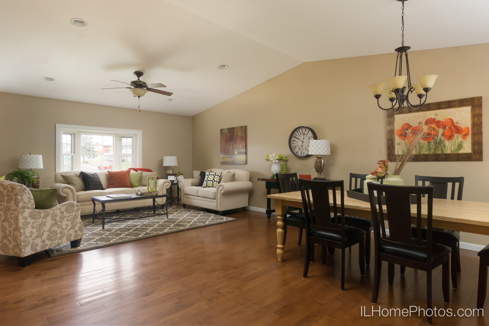Interior living room and dining room photograph for real estate :: Illinois Home Photography by Michael Gowin, Lincoln, IL