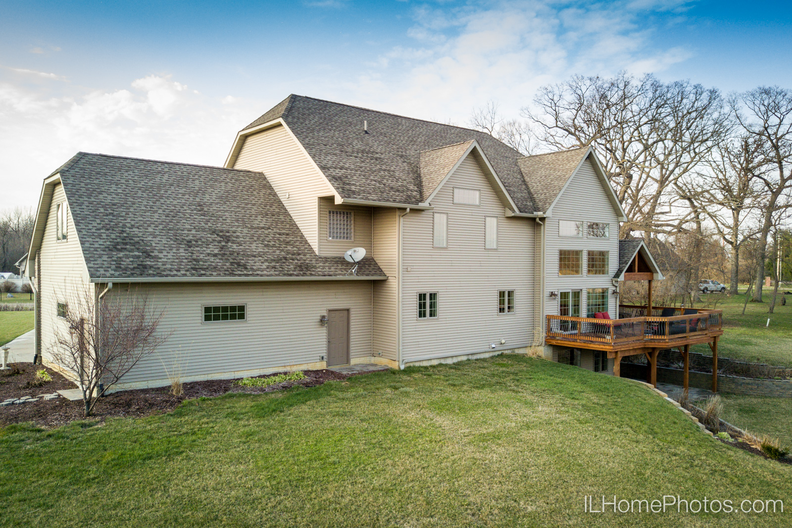 Exterior home drone aerial photograph for real estate :: Illinois Home Photography by Michael Gowin, Lincoln, IL
