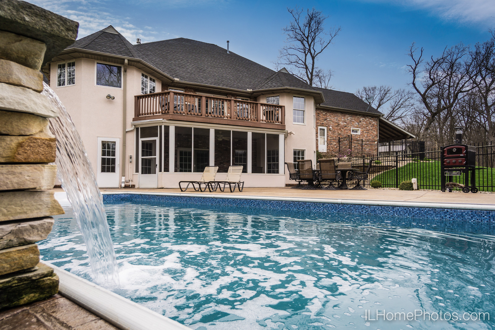 Exterior pool and patio photograph for real estate :: Illinois Home Photography by Michael Gowin, Lincoln, IL