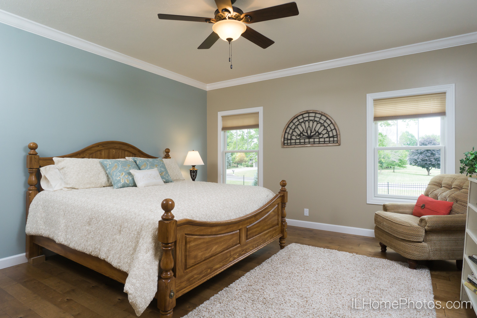 Interior master bedroom photograph for real estate in Springfield, IL :: Illinois Home Photography by Michael Gowin, Lincoln, IL