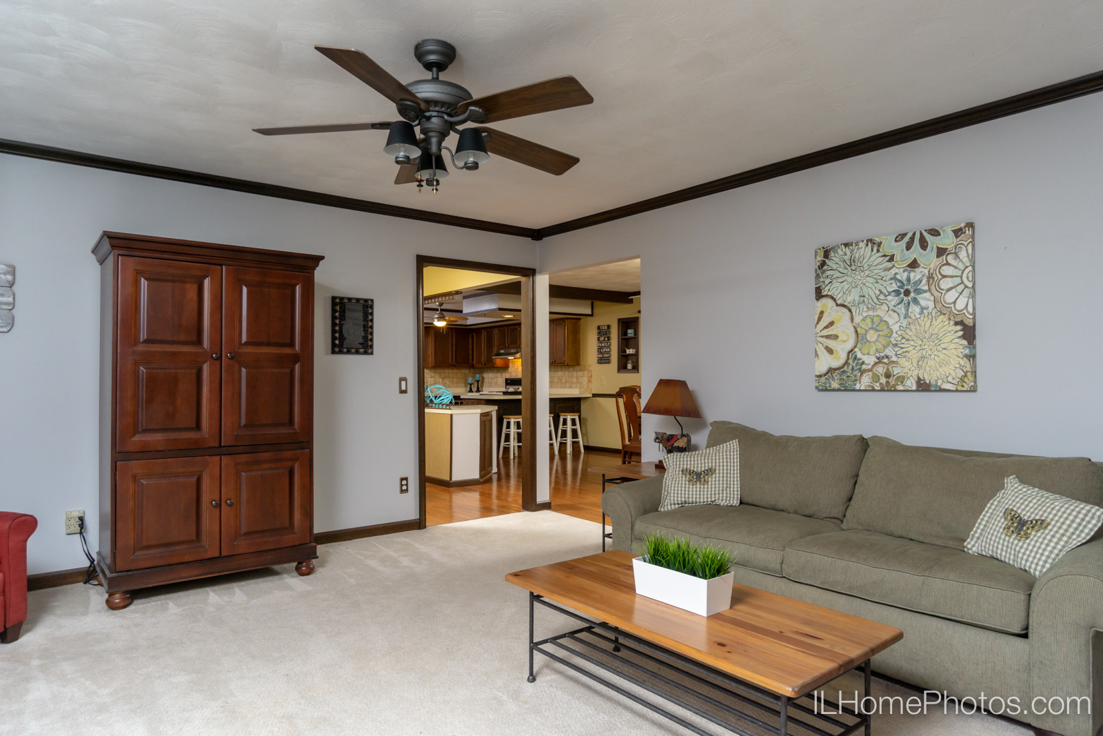 Interior living room photograph for real estate in Sherman, IL :: Illinois Home Photography by Michael Gowin, Lincoln, IL