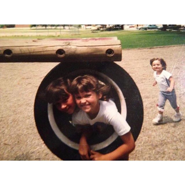 #tbt playin in the park - being kids, lots of bangs, and tiny Julie 🥰