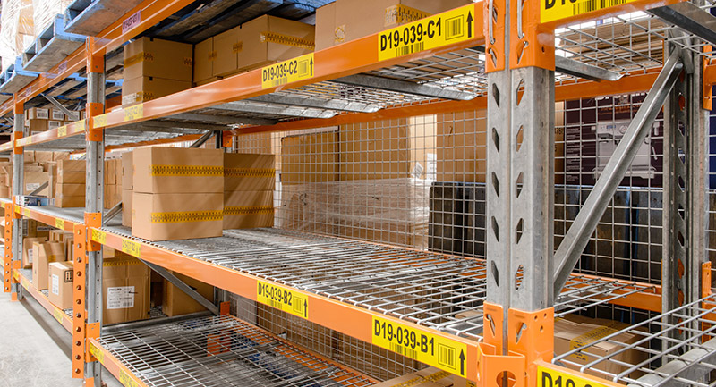 Colby heavy-duty shelving with mesh decks