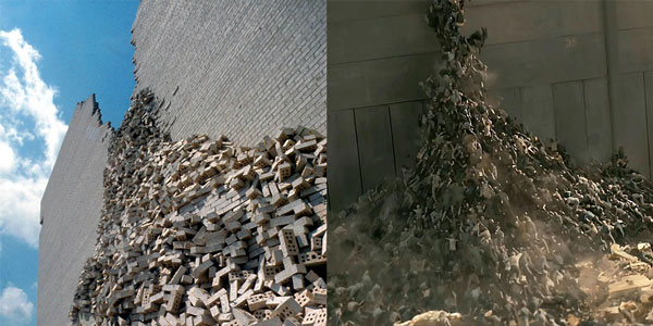 Left Image: James Wines, BEST Products Indeterminate Façade building (1974); Houston, Texas. Courtesy Sculpture In The Environment (SITE). Right Image: Marc Forster, World War Z (2013); Courtesy Paramount Pictures.