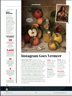 """""""Instagram Goes Vermeer,"""" Food & Wine, January 2018."""