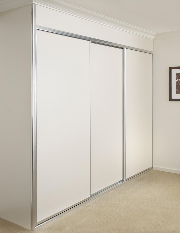 white melamine wardrobe with matte silver frame.JPG