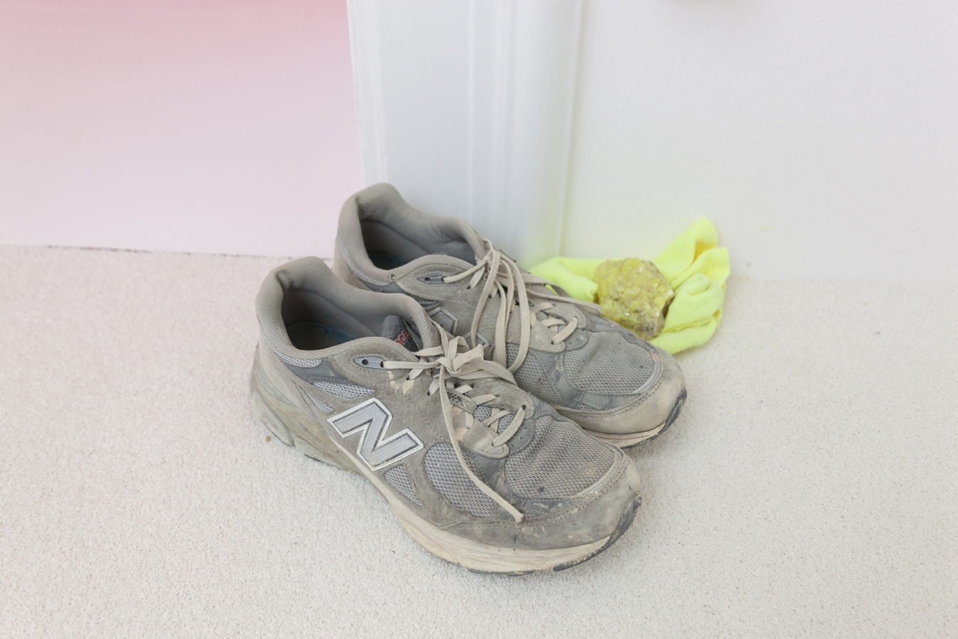 Idolatrie (the artist is present) , 2003-2013  Sneakers, paper, ink, sock, stone, material  Dimensions variable