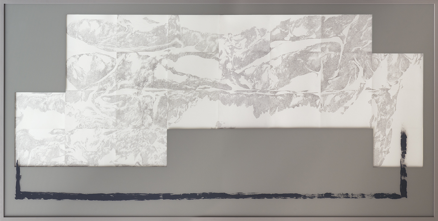 Permafrost,  2016/2017  pencil on paper, acrylic on glass  134 × 270 cm