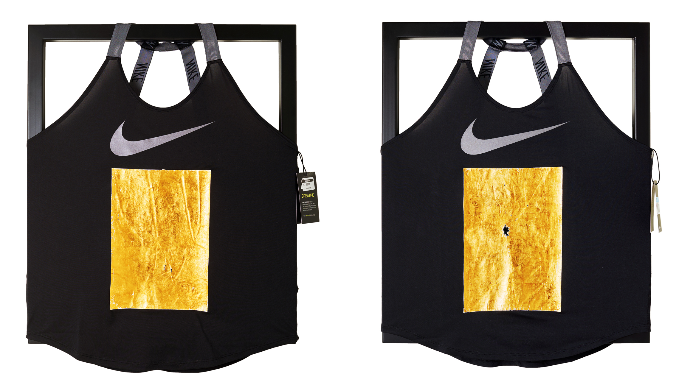 An alle anonymen Meister, 2018  2 part work, 24 karat gold leaf on Nike Dry-Fit tank top, paint on steel  60 × 50 cm, each