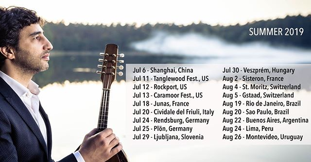 Concerts this summer: Jul 6  CHINA, Shanghai Jul 11  USA, Tanglewood Festival Jul 12  USA, Rockport MA Jul 13  USA, Caramoor NY Jul 18  FRANCE, Jazz a Junas Jul 20  ITALY, Cividale del Friuli Jul 24  GERMANY, Rendsburg (SHMF)  Jul 25  GERMANY, Plön (SHMF) Jul 29  SLOVENIA, Ljubljana Festival Jul 30  HUNGARY, Veszprém  Aug 2  FRANCE, Sisteron Aug 4  SWITZERLAND, St. Moritz Aug 5  SWITZERLAND, Gstaad Aug 19  BRAZIL, Rio de Janeiro Aug 20  BRAZIL, Sao Paulo Aug 22  ARGENTINA, Buenos Aires Aug 24  PERU, Lima Aug 26  URUGUAY, Montevideo **I swear there's also a 12 days vacation in Greece somewhere in there!  at: Tanglewood Music Festival, Caramoor, Jazz À Junas, Mittelfest Festival, Schleswig-Holstein Musik Festival, Festival Ljubljana, AUER Fesztivál, Veszprém, Nuits de la Citadelle de Sisteron, Engadin Festival, Gstaad Menuhin Festival, Sala São Paulo with: Venice Baroque Orchestra, Omer Avital, Kammerorchester Basel, Maurice Steger