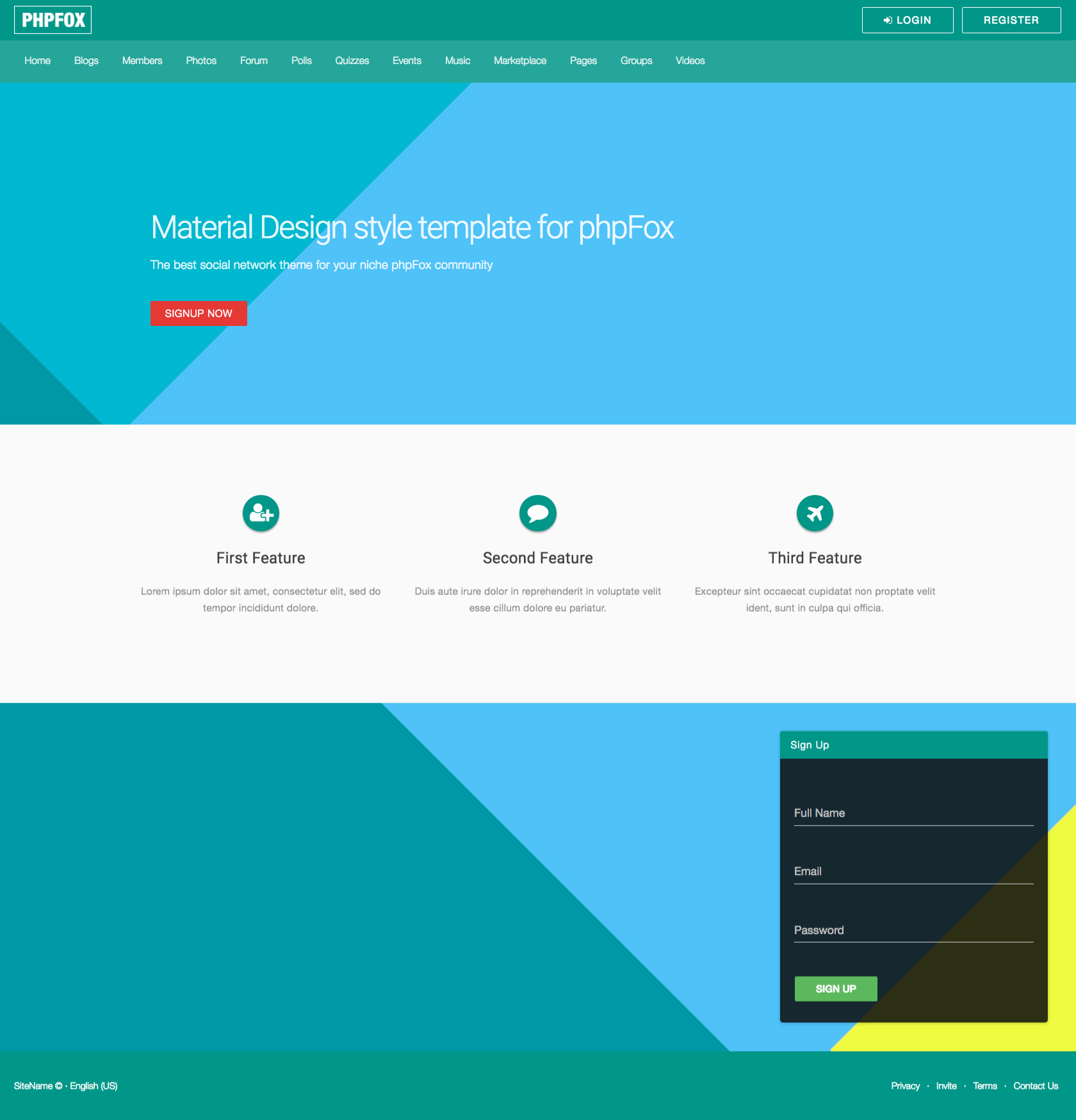 phpFox with  Material Design style theme  by phpFoxer