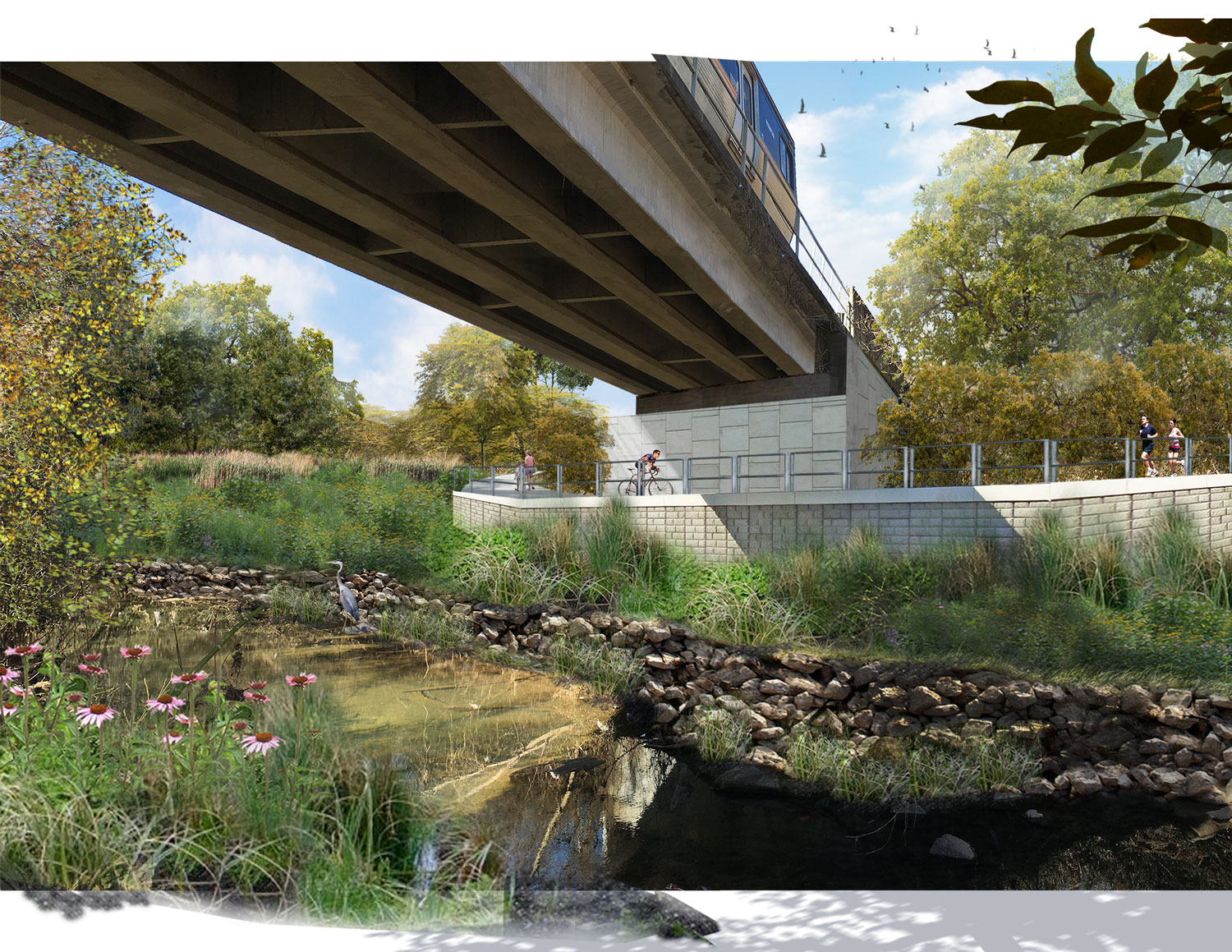 Proposed retaining structure to allow trail to pass seamlessly under the MARTA bridge