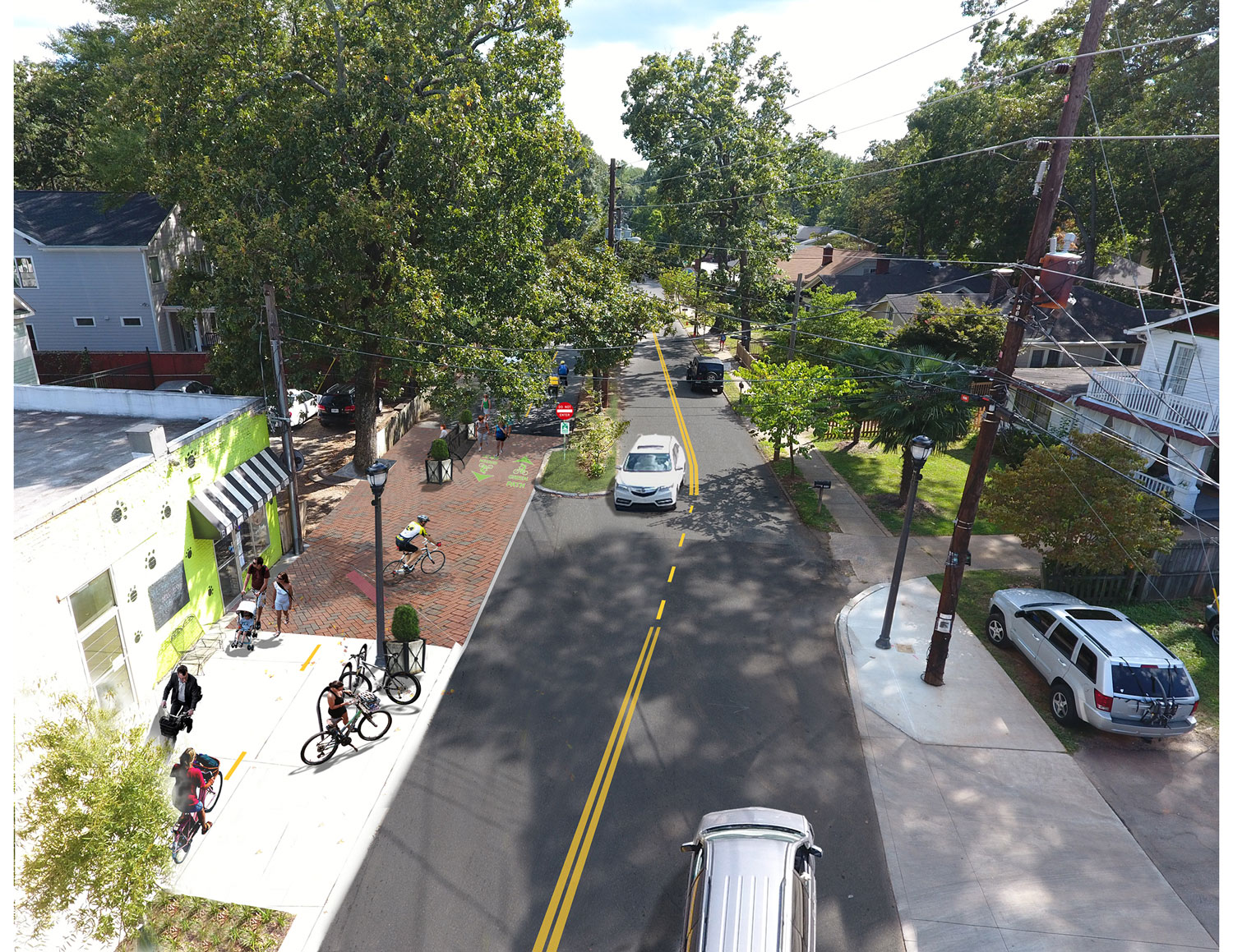 Proposed modification of northern bound lane for bicycle-pedestrian greenway signing and markings, landscape bulb-outs to restrict entrances to only local traffic and on-street parking.