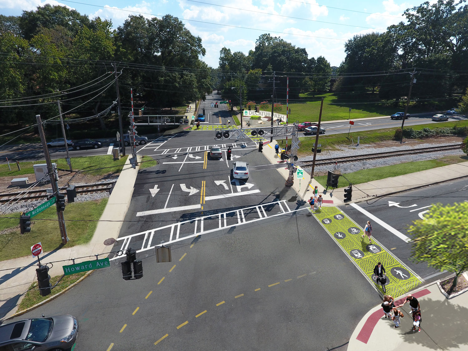 Proposed connection to the newly constructed two-way cycle track along the west side of McDonough Street.