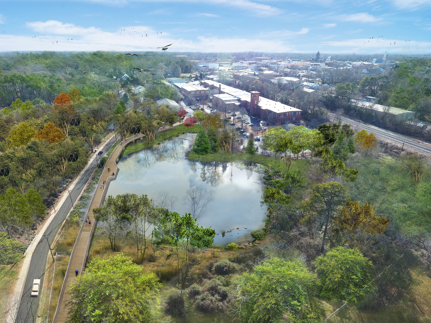 Proposed plan for a boardwalk over the retention pond