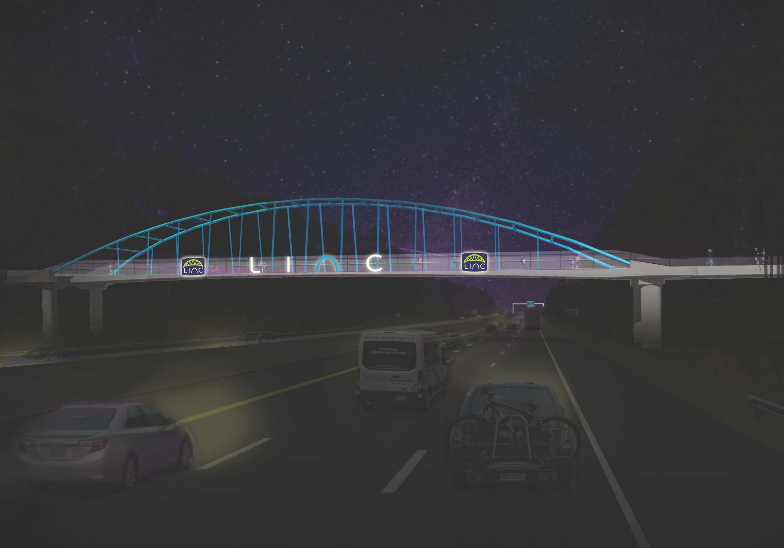 Proposed plan for the LINC pedestrian bridge over I-85 at night