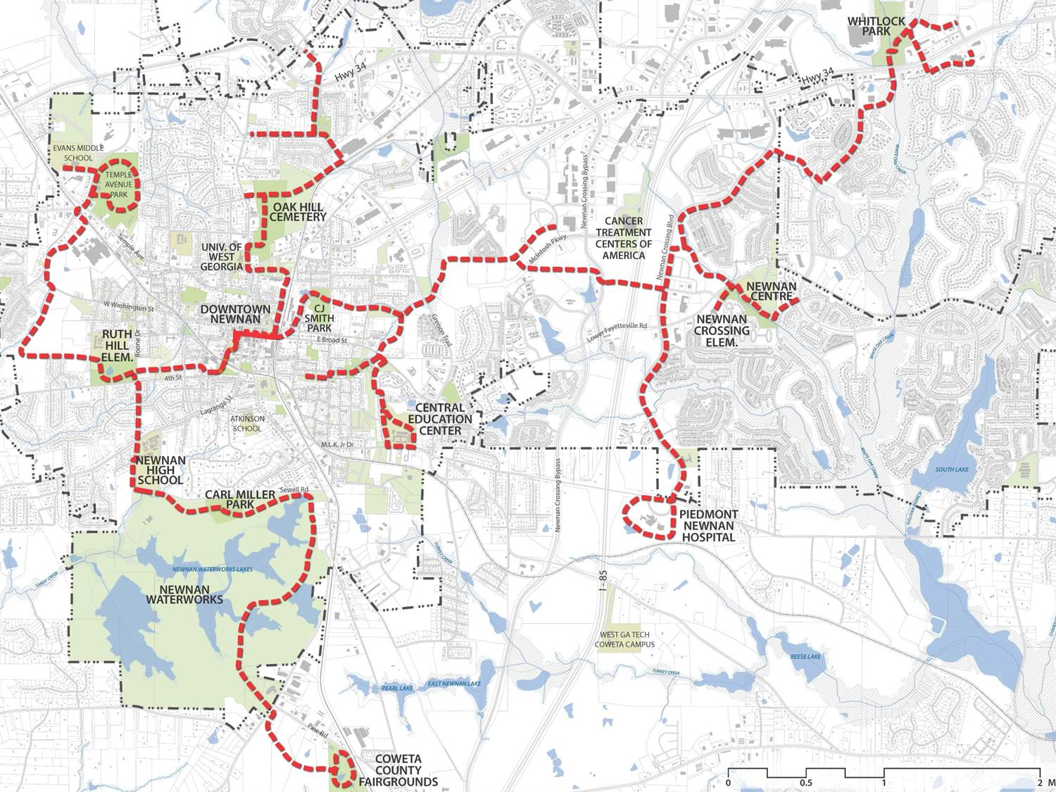 Overall proposed master trail plan for the Newnan/Coweta LINC Trail System