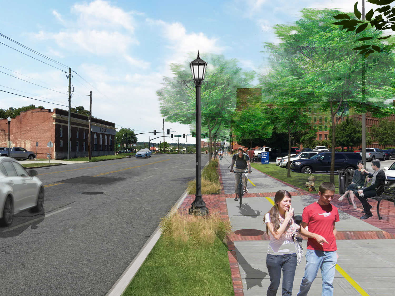 14th street side-path in rendering