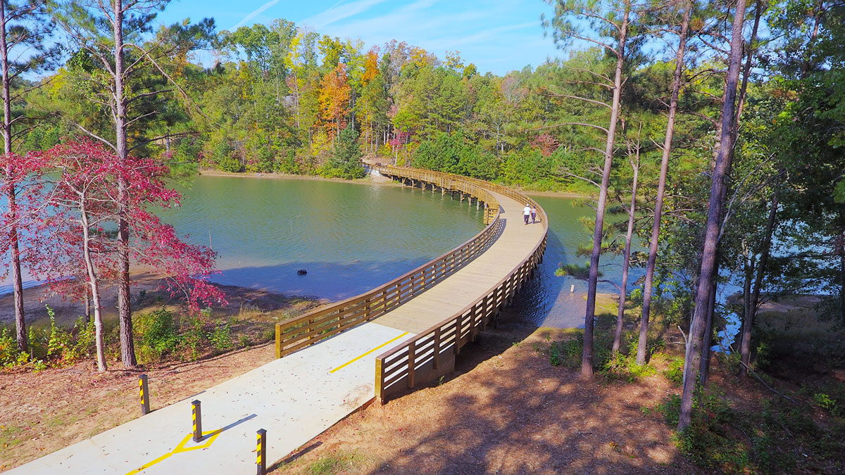 Boardwalk over the lake in International Park