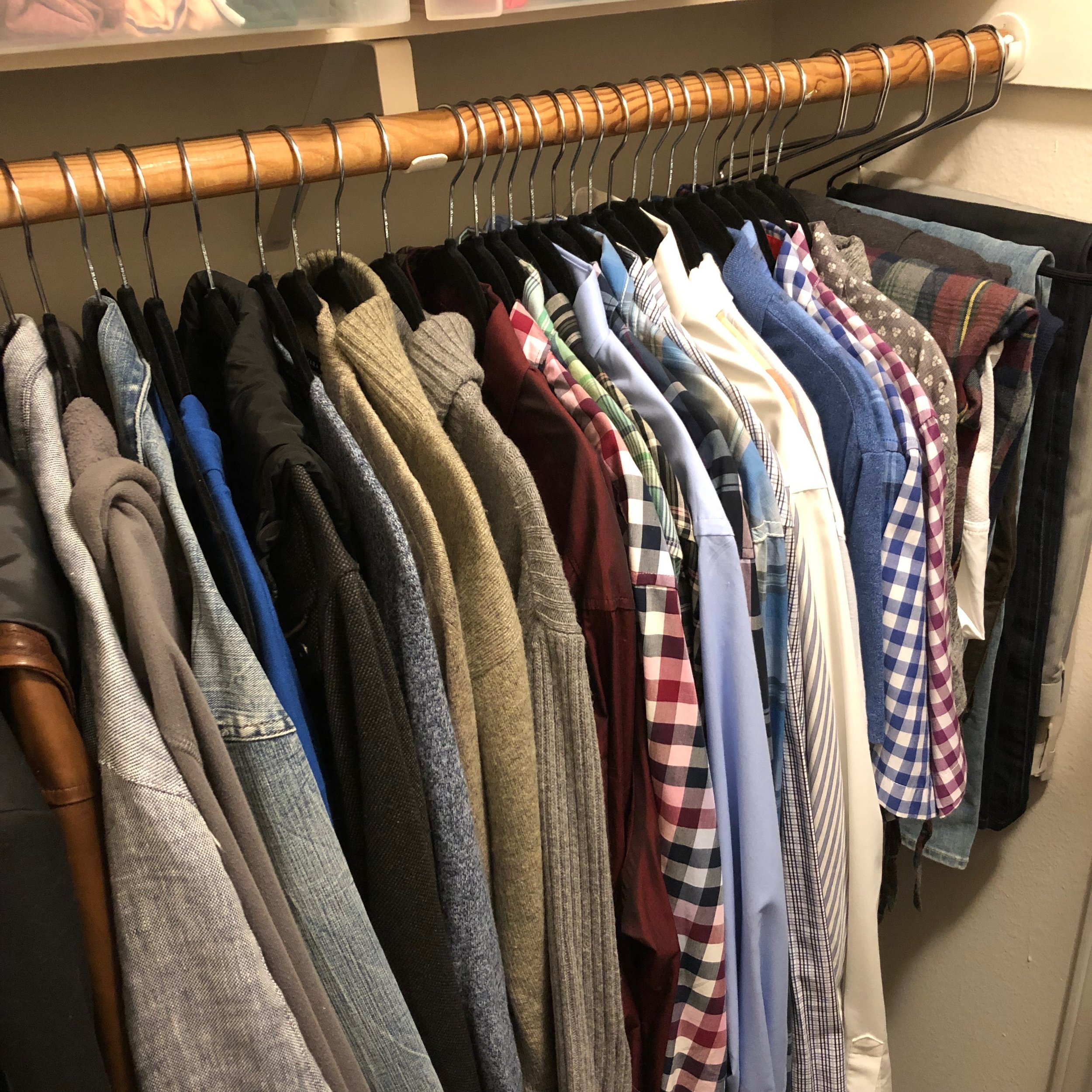 When hanging your clothes, be sure to go from longest on the left to shortest on the right. This is a tip from Marie Kondo & yes, it does spark joy!