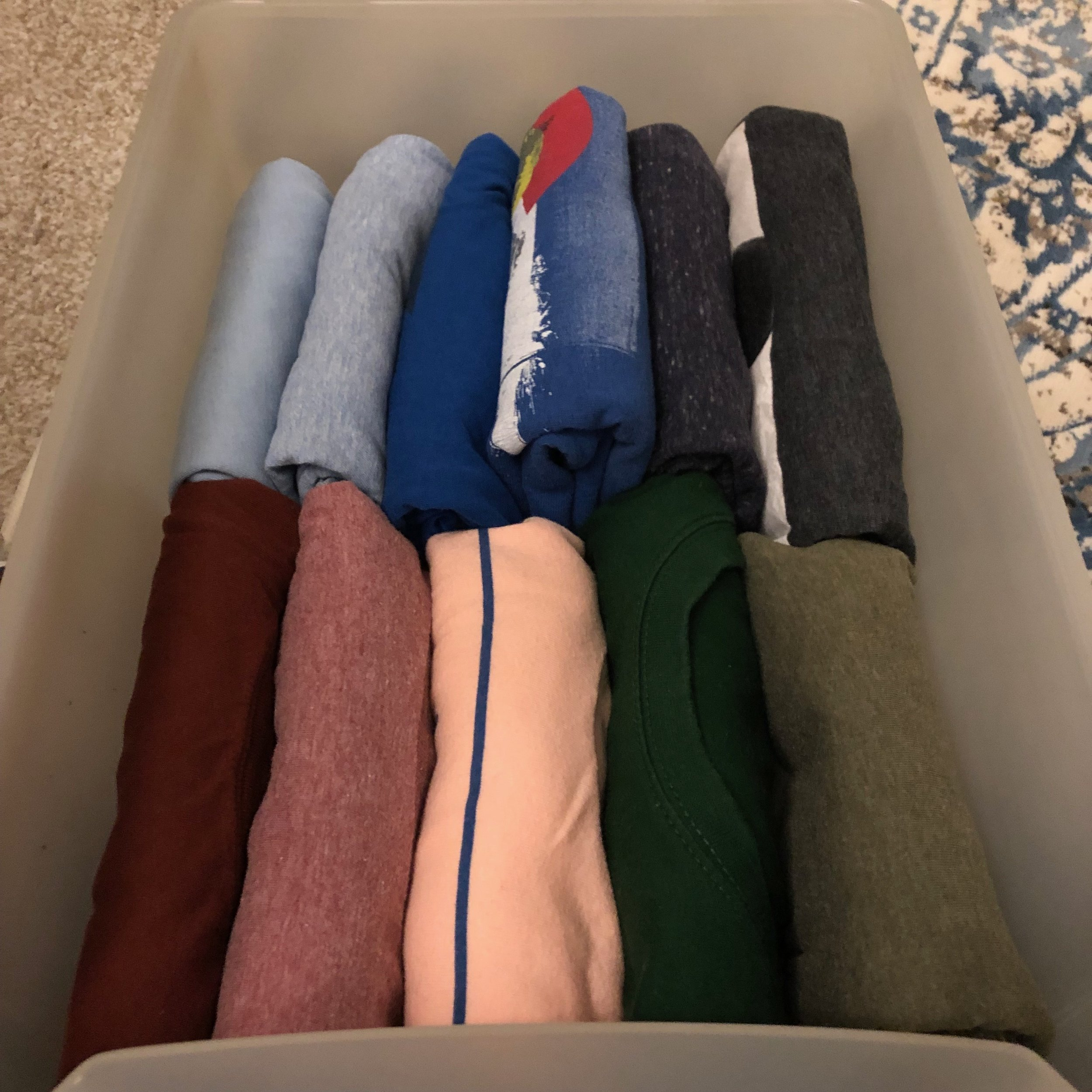 Utilizing the KonMari folding system you can see all shirts at a glance!