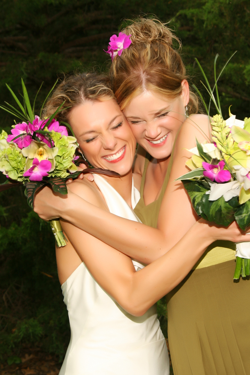 Maids of Honor with their bouquets