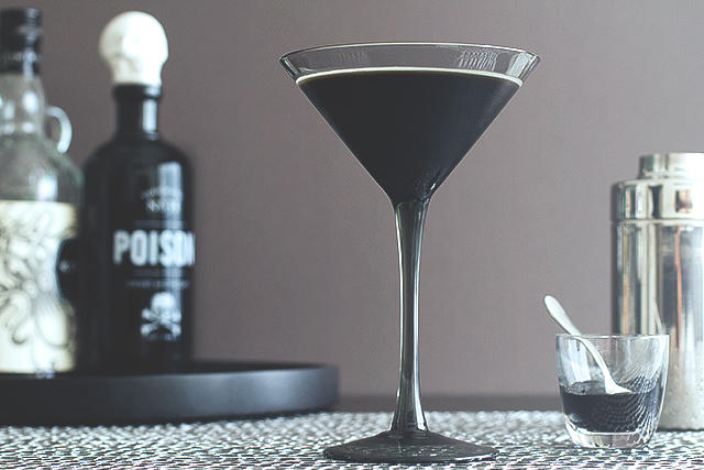 Image via  Honestly Yum   Dubbed The Black Beard by creator Todd for Honestly Yum, this  devilishly dark-hued drink  is the epitome of mystery when it comes to party beverages. It only gets more intriguing when you realize the black color comes from squid ink but don't worry, only an 1/8 of a teaspoon! When mixed with spiced rum and creme de cacao as well as a chocolate stout, this sweet and viscous libation is sure to turn heads at your next Halloween party.