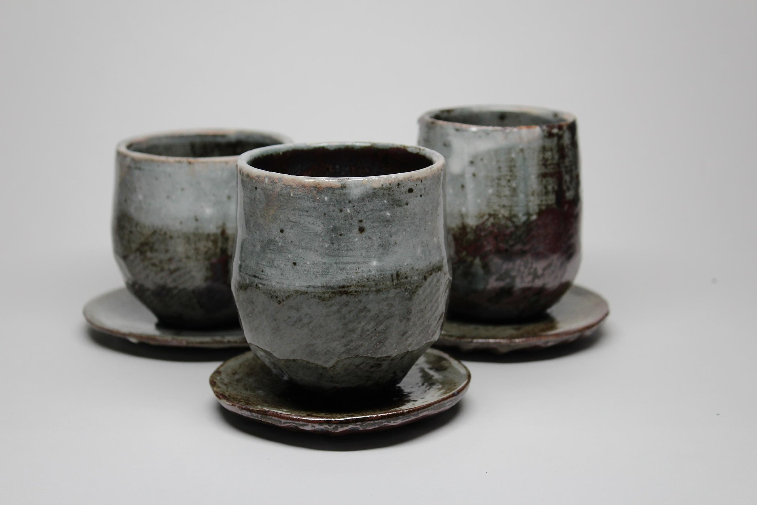 Horn_Cup and Saucer Trio_Trown Stoneware_5 inches tall.jpg