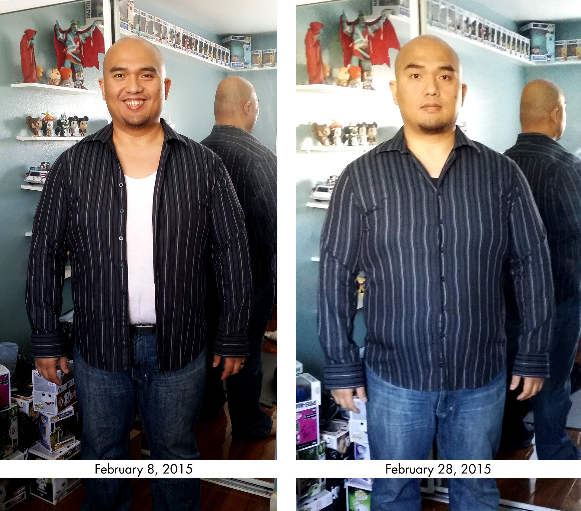 In the beginning of the month I was NOT able to button this shirt as seen on the left image. Today, the shirt is still snug as noted by the stressed buttons on the right image, but at least I can button it up. I last wore this shirt in 2007 when I was a lot more active and skinnier. I kept this shirt along with a few others  as a reminder/inspiration that I will once again fit into this shirt.